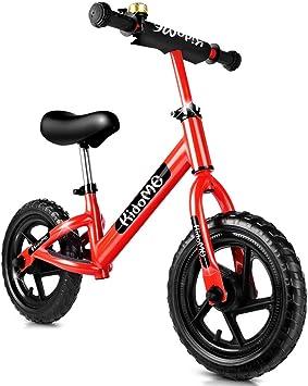 KidoMe 12 Bici sin Pedales Color Rojo Bicicleta de Blalance Equilibrio Altura Ajustable Acero al Carbono Inoxidable Regalo para Niño de 2-6 años Neumáticos sin Necesidad de Inflarse (Rojo) (Rojo): Amazon.es: Juguetes