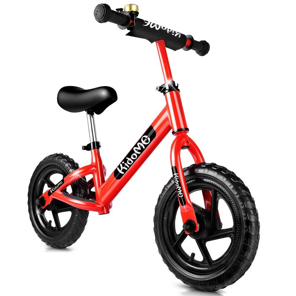 KidoMe 12 Bici sin Pedales Color Rojo Bicicleta de Blalance Equilibrio Altura Ajustable Acero al Carbono Inoxidable Regalo para Niño de 2-6 años ...
