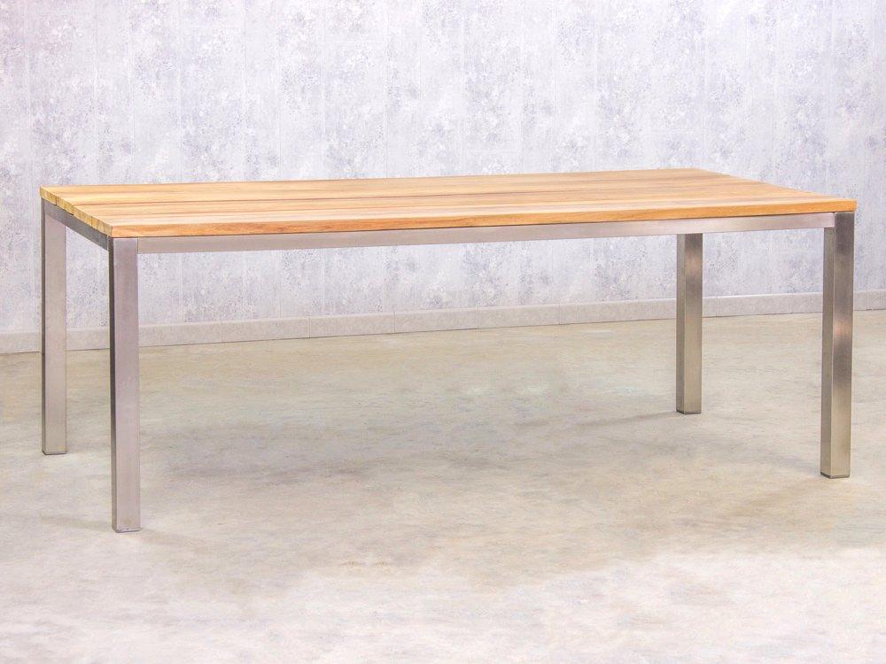 Gartentisch Teak Edelstahl 200x100cm günstig kaufen