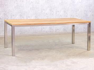 Gartentisch Teak Edelstahl 200x100cm