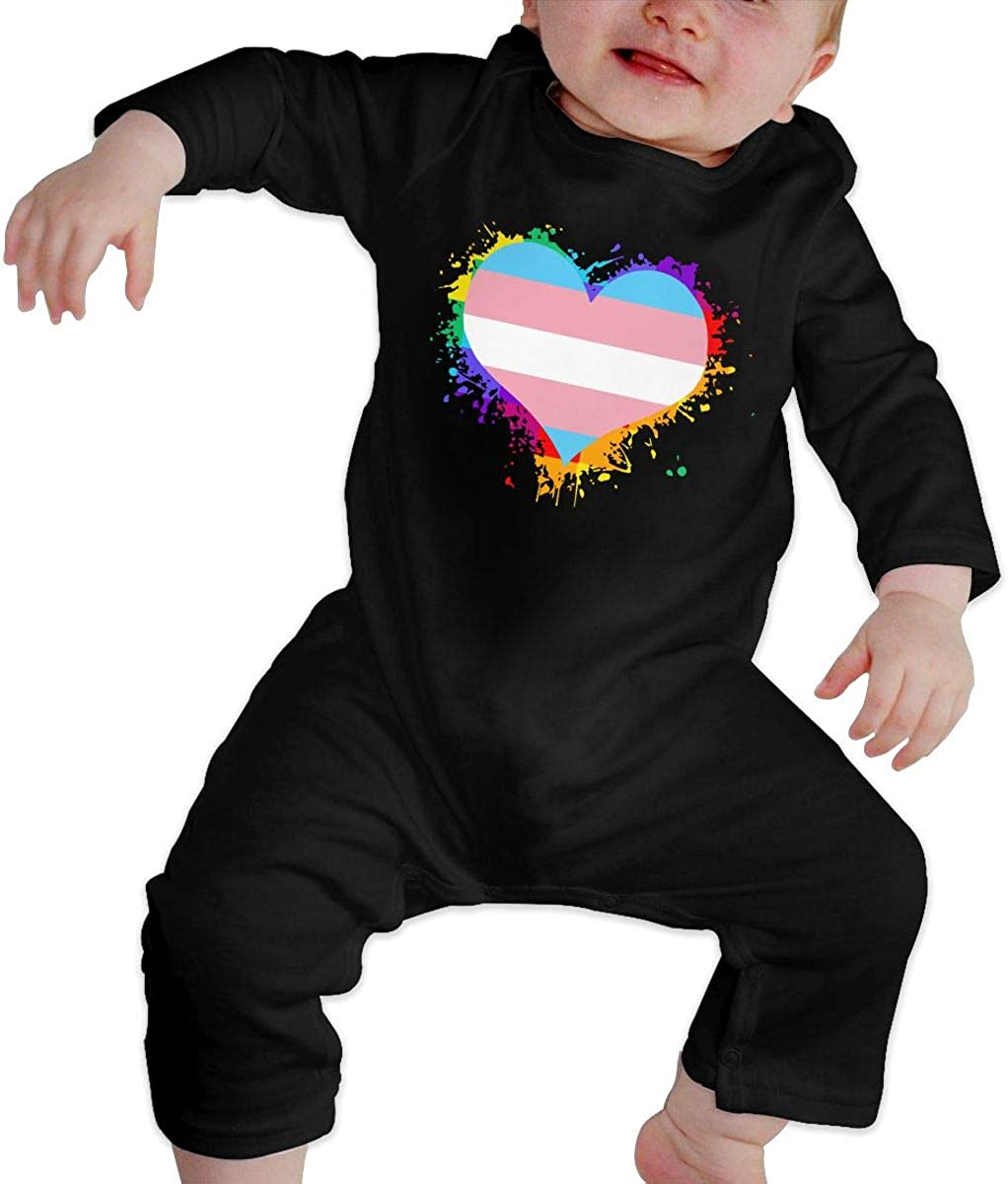 BKNGDG8Q Toddler Baby Boy Romper Jumpsuit Transgender Flag Heart Organic One-Piece Bodysuits Coverall Outfits