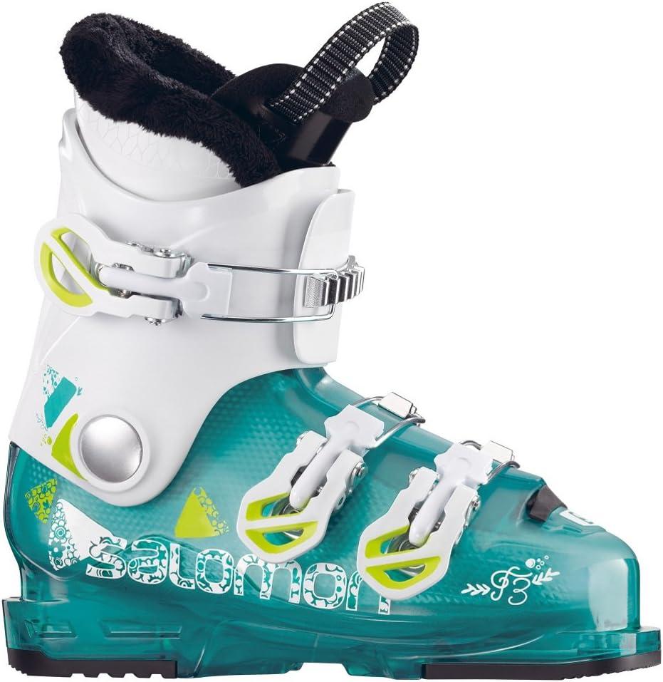 Salomon T3 RT Ski Boots Girls Girly Light Green Translucent//White//Acid 25.5