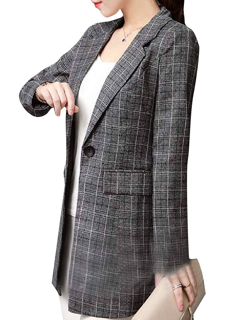 YUNY Womens Slim Tailoring Classic Plaid Longline Sport Coat 1 S