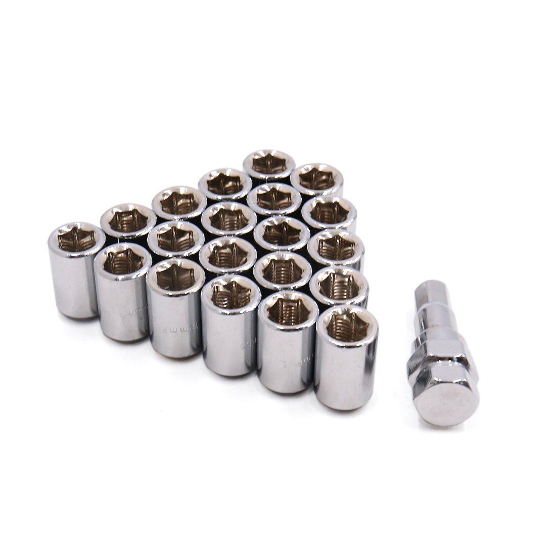 uxcell Silver Tone 12mm x 1.5 Closed End Extended Wheel Rim Steel Lug Nut Hex Key Set