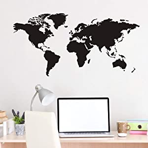 FlyWallD Large Black World Map Wall Decal Decor Wall Posters for Bedroom Vinyl Art Mural Home Office Removable Traveler Stickers