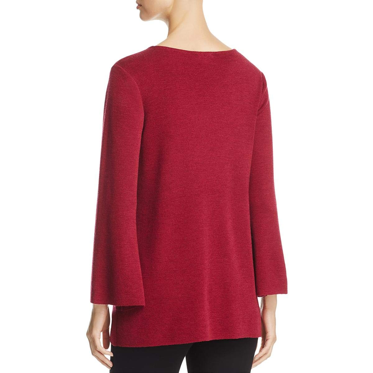 4d4fbec9737 Eileen Fisher Womens Merino Wool Bell Sleeve Pullover Sweater Red L at  Amazon Women s Clothing store