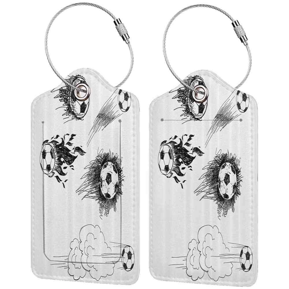 Modern luggage tag Sports Decor Various Round Soccer Balls In Air Fast Kick Shoot In Flame Kickoff Space Artsy Sketch Suitable for children and adults Black White W2.7 x L4.6