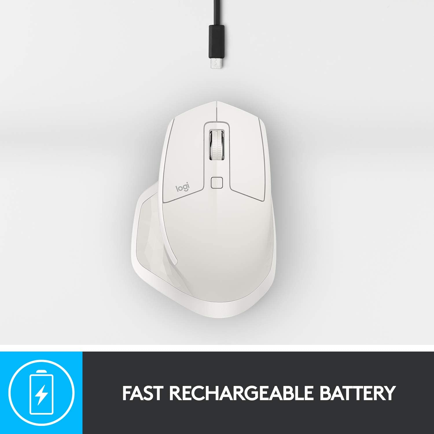 Logitech Master Wireless Mouse Multi-Device Bluetooth 4GHz Wireless with USB Unifying Receiver 4000 DPI Any Surface Tracking Buttons Fast Rechargeable Laptop Mac iPad White