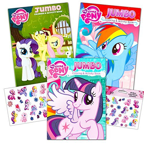My Little Pony Coloring Book Super Set with Stickers (3 Jumbo Books - Approximately 200 Pages and 30 My Little Pony Stickers Total Featuring Rainbow Dash, Fluttershy, Pinkie Pie and More!) (Pony Gift Set)