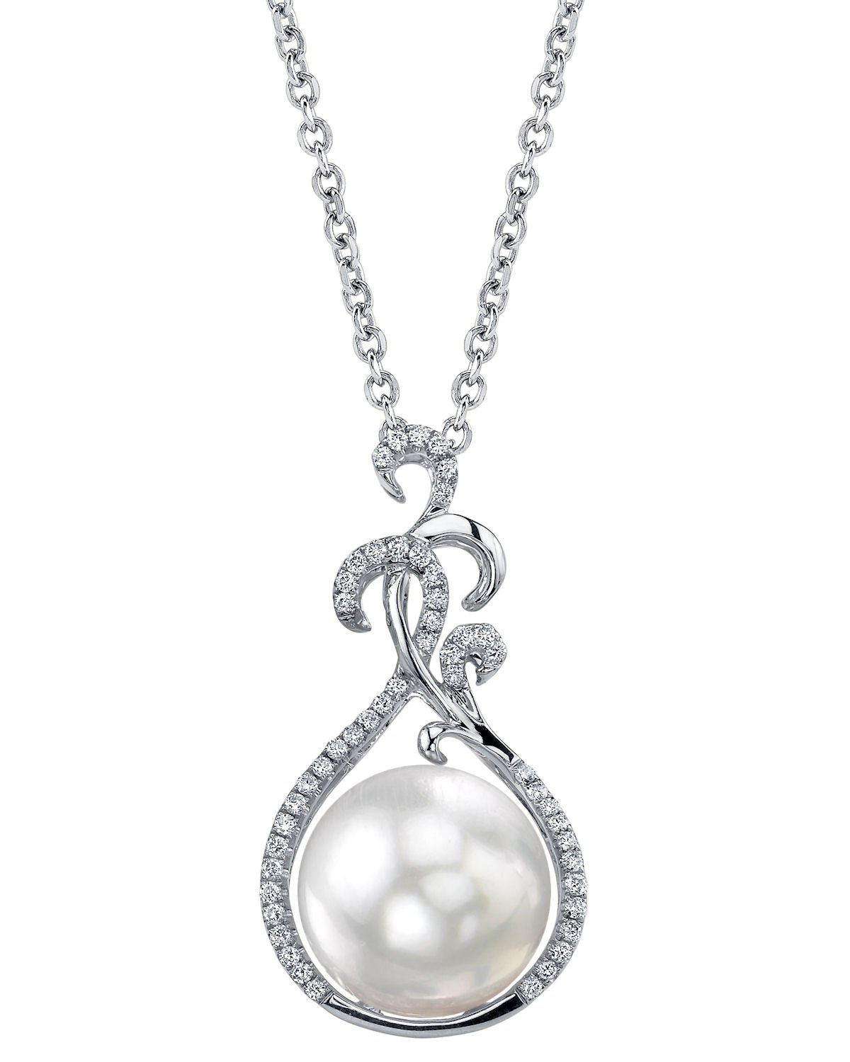 THE PEARL SOURCE 18K Gold 11-12mm Round White South Sea Cultured Pearl & Diamond Taylor Pendant Necklace for Women