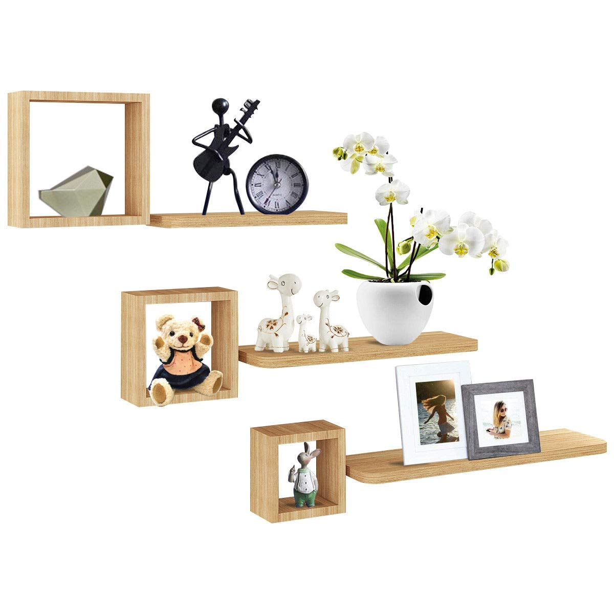 Eight24hours Set of 6 Modern Floating Wall Mounted Shelves Display Storage Home Decor Only by Eight24hours