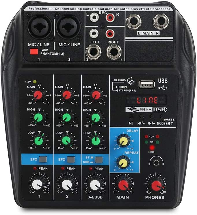 Amazon Com A4 4channels Audio Mixer Sound Mixing Console With Bluetooth Usb Record 48v Phantom Power Monitor Paths Plus Effects Use For Home Music Production Webcast K Song Musical Instruments