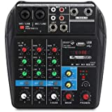 A4 4Channels Audio Mixer Sound Mixing Console with Bluetooth USB Record 48V Phantom Power Monitor Paths Plus Effects Use…