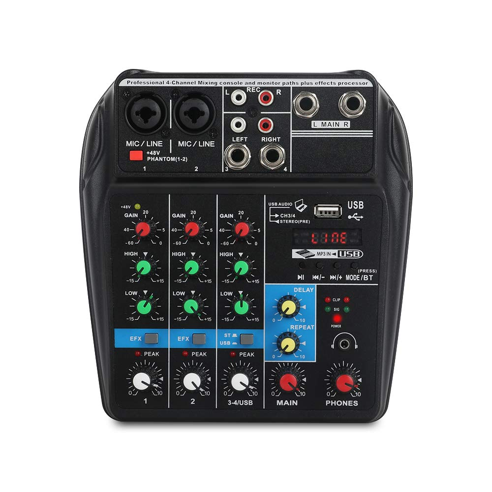 A4 4Channels Audio Mixer Sound Mixing Console with Bluetooth USB Record 48V Phantom Power Monitor Paths Plus Effects Use for home music production, webcast, K song