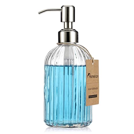 Homeicon Clear Glass Soap Dispenser with Rustproof Stainless Steel Pump,  Kitchen Dish Soap Dispenser, Bathroom Liquid Soap Dispenser (16 Oz/with ...