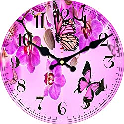 ShuaXin Wall Clock Classic Flowers,Butterflies Country Style Round Wooden Clock (12, A)