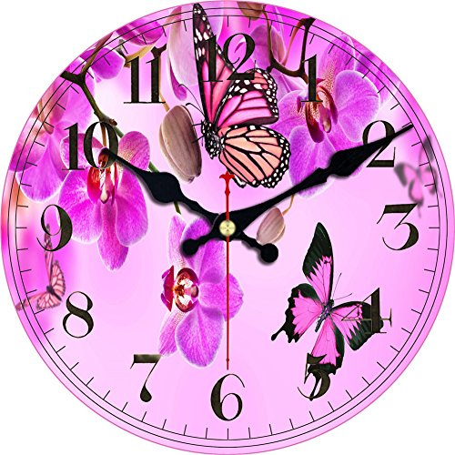 (ShuaXin Wall Clock Classic Flowers,Butterflies Country Style Round Wooden Clock (12