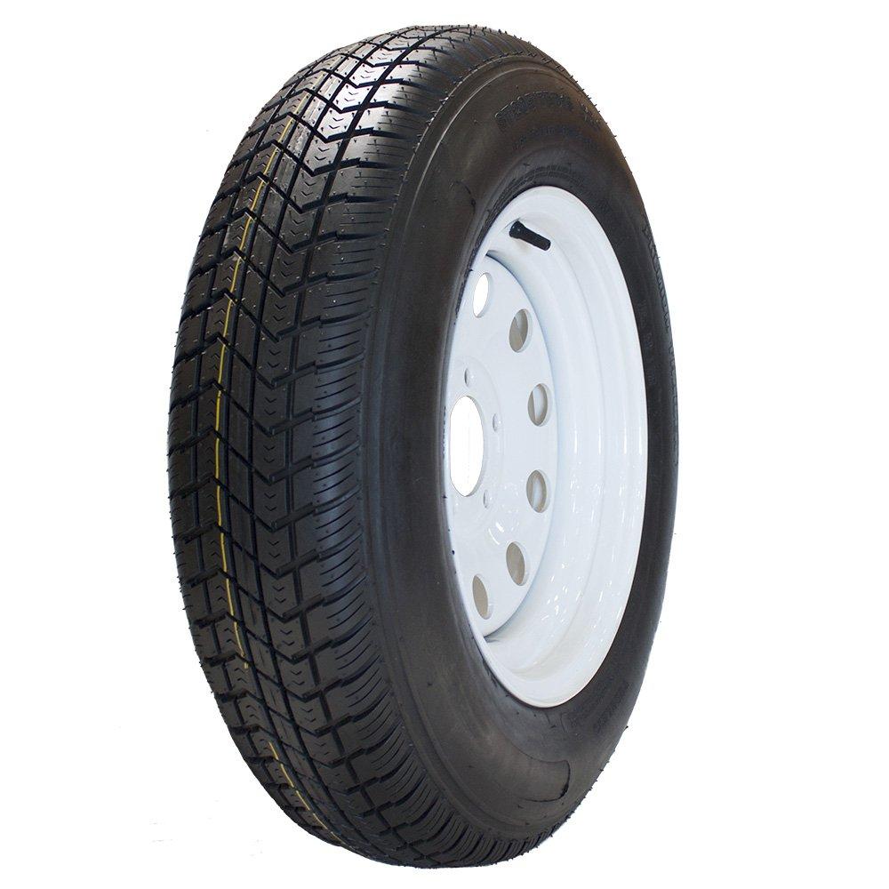 MARASTAR ST205/75D15 LRC Bias Trailer Tire Mounted on White Modular 5 Lug Wheel