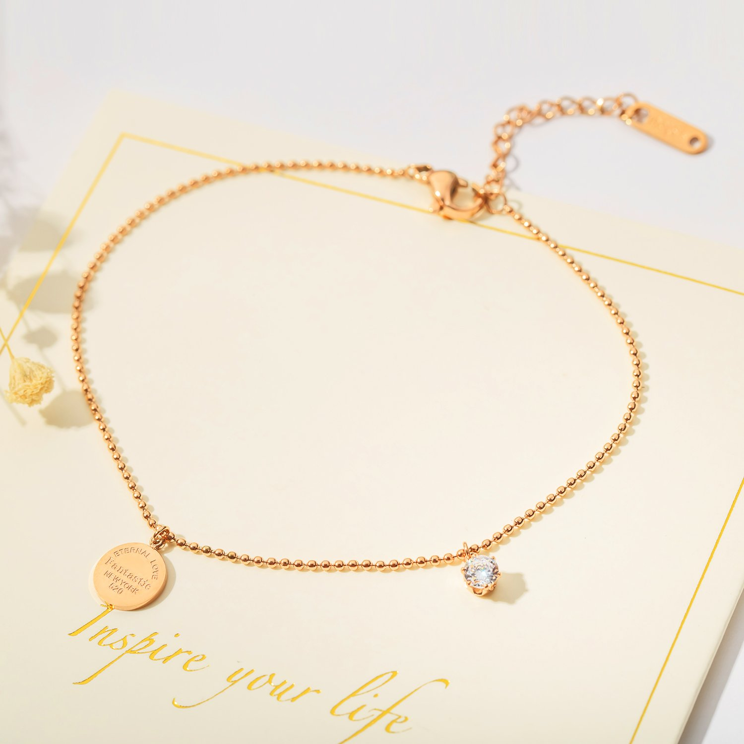 OPK Stainless Steel Rose Gold Women Anklet,Enternal Love Fantastic New York Link Chain Beach Foot Jewelry by OPK (Image #3)