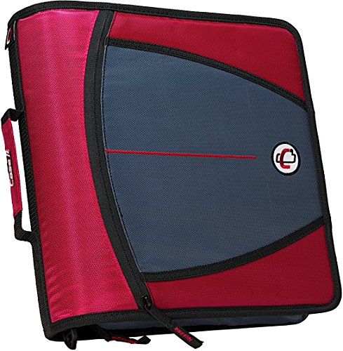 Case-it Mighty Zip Tab 3-Inch Zipper Binder, Red, - 3 Binder Ring Organizer