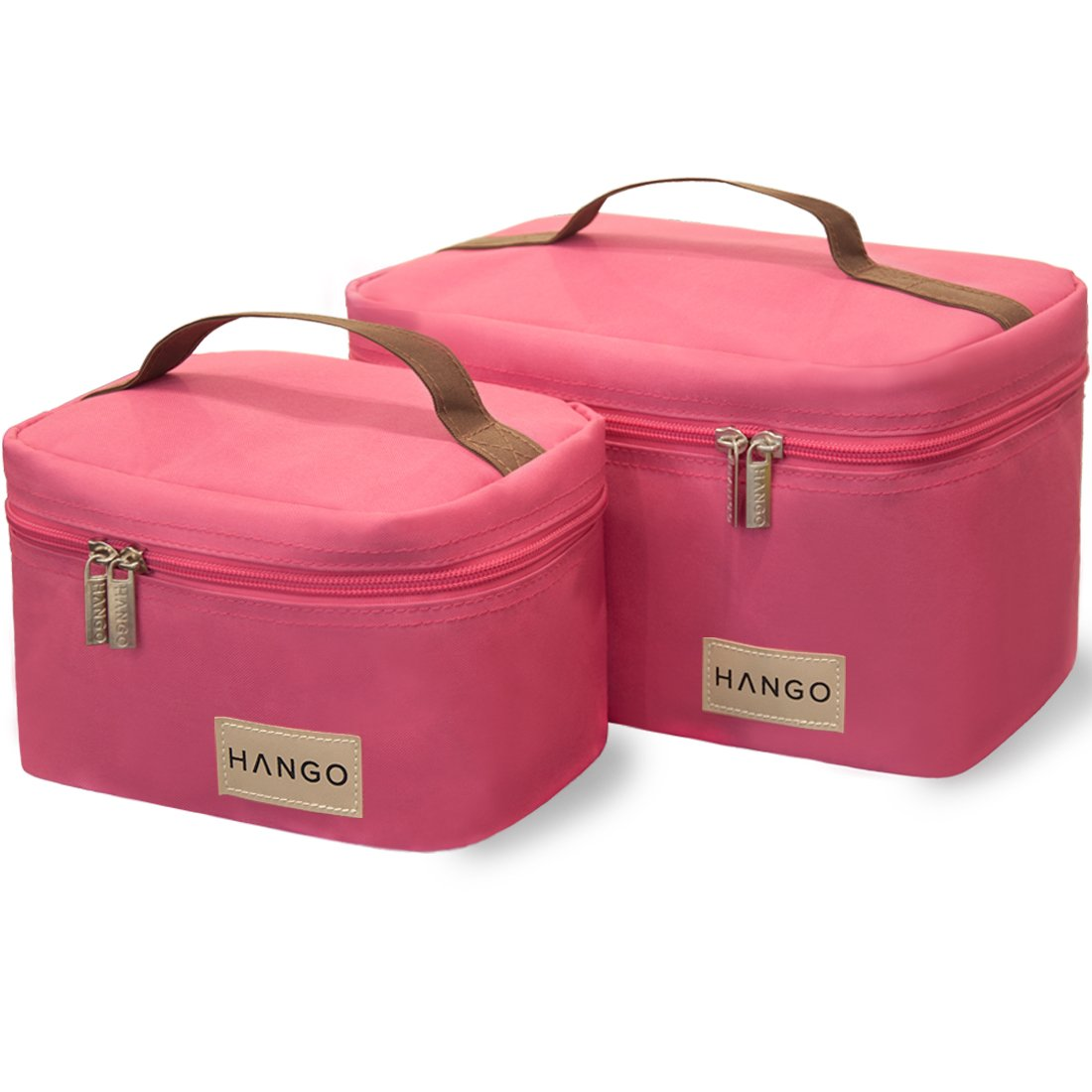 Hango Adult Lunch Box Insulated Lunch Bag Large Cooler Tote Bag (Set of 2 Sizes) For Men and Women, Black Attican