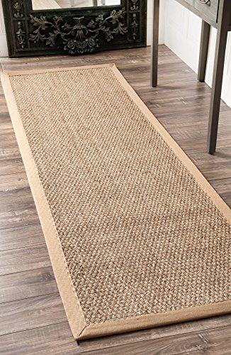 "nuLOOM Elijah Seagrass Natural Runner Rug, 2' 6"" x 8', Beige - Made in China PREMIUM NATURAL FIBERS: This rug is crafted with sustainable 100% Seagrass, a fiber that perfects a coastal-cool look SLEEK LOOK: Doesn't obstruct doorways and brings elegance to any space - runner-rugs, entryway-furniture-decor, entryway-laundry-room - 61LPoLhjNBL -"