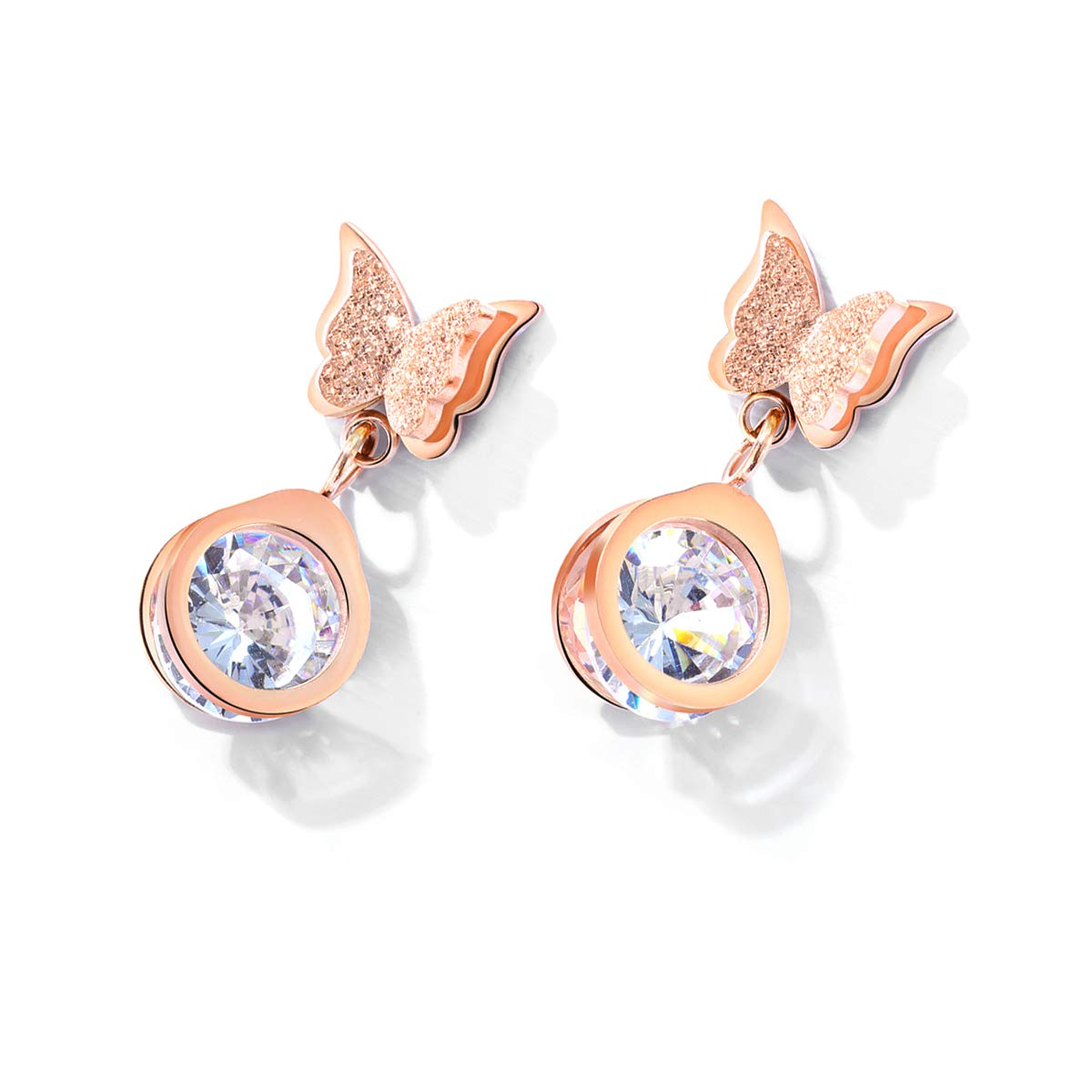 0a9030c26 HooAMI Women's Rose Gold Stainless Steel Butterfly Earrings Set Crystal  Rhinestone Drop Dangle Earring: Amazon.co.uk: Jewellery