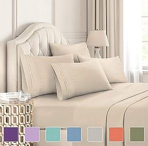 Split King Size Sheet Set - 7 Piece Set - Hotel Luxury Bed Sheets - Soft - Deep Pockets - Easy Fit - Cooling Sheets - Wrinkle Free - Light Blue Bed Sheets - Split Kings Sheets - Baby Blue 7 PC