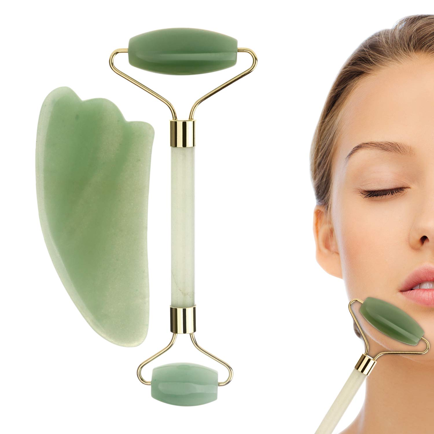 Jade Roller & Gua Sha Massage Tool Set, 100% All-Natural jade, Highly Potent, Anti Aging Wrinkle, Facial Massager Therapy, Clears Toxins, Reduces Puffiness, Double Neck Healing Slimming Massager YiFi-Tek