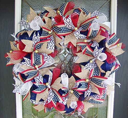 XL Patriotic 4th of July, Memorial Day, Labor Day, Military, Deco Mesh Front Door Wreath, Fourth Decor, Indoor Outdoor, Porch Patio Decoration, RWB -