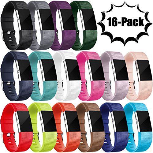 Maledan Replacement Bands for Fitbit Charge 2, 16 Pack