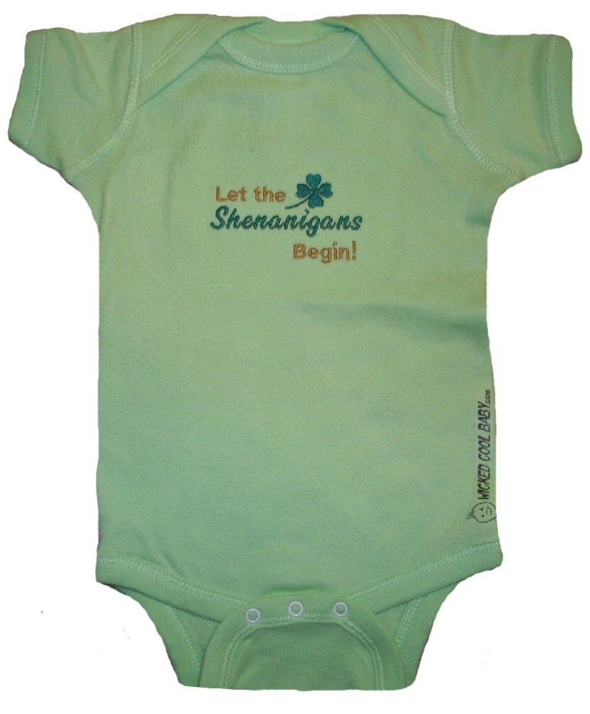 WICKED COOL BABY's Let the Shenanigans Begin newborn lime onesie