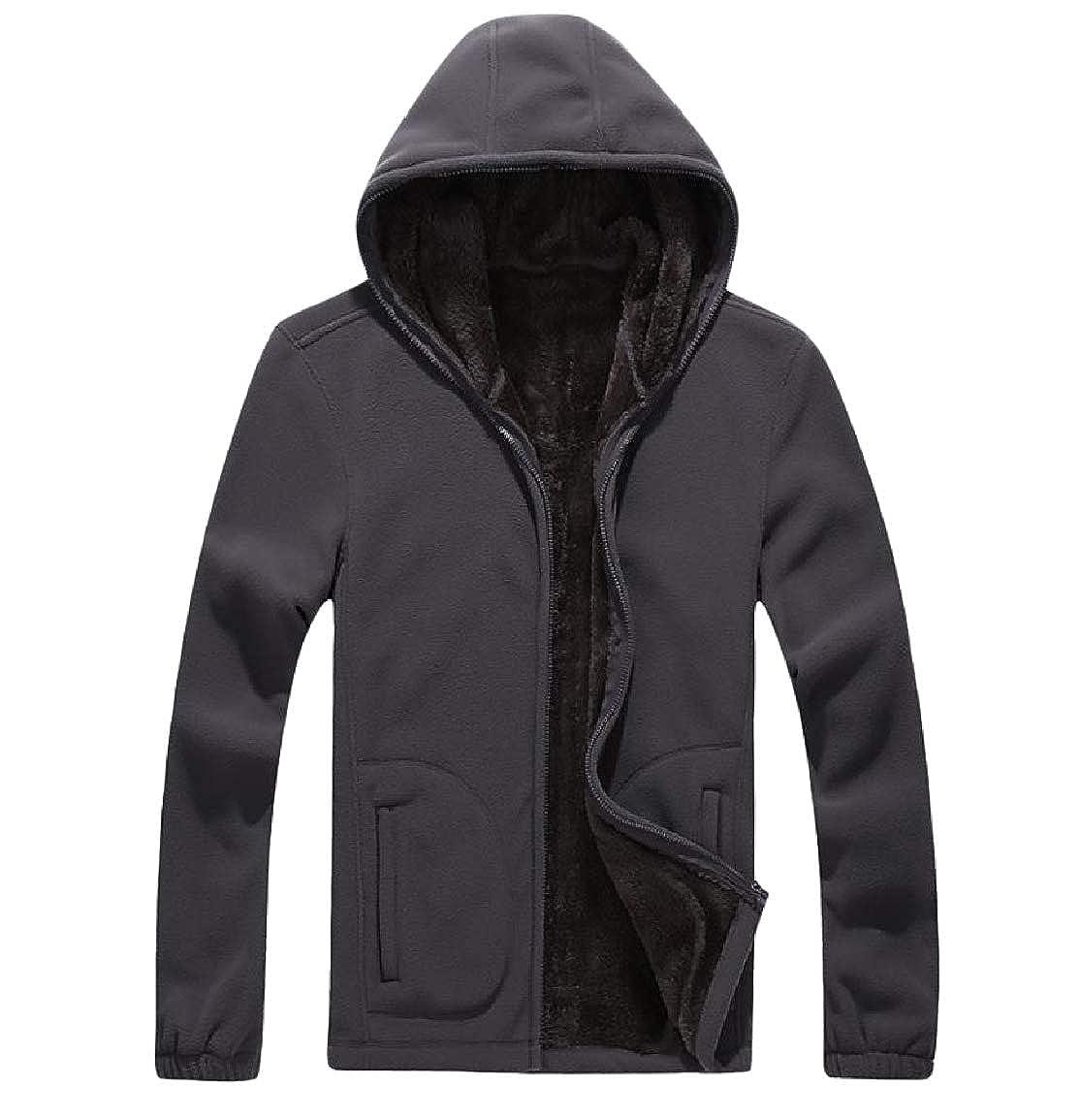 Vska Mens Oversized Warm Fall Winter Fitness Hooded Zip-Up Sweatshirts