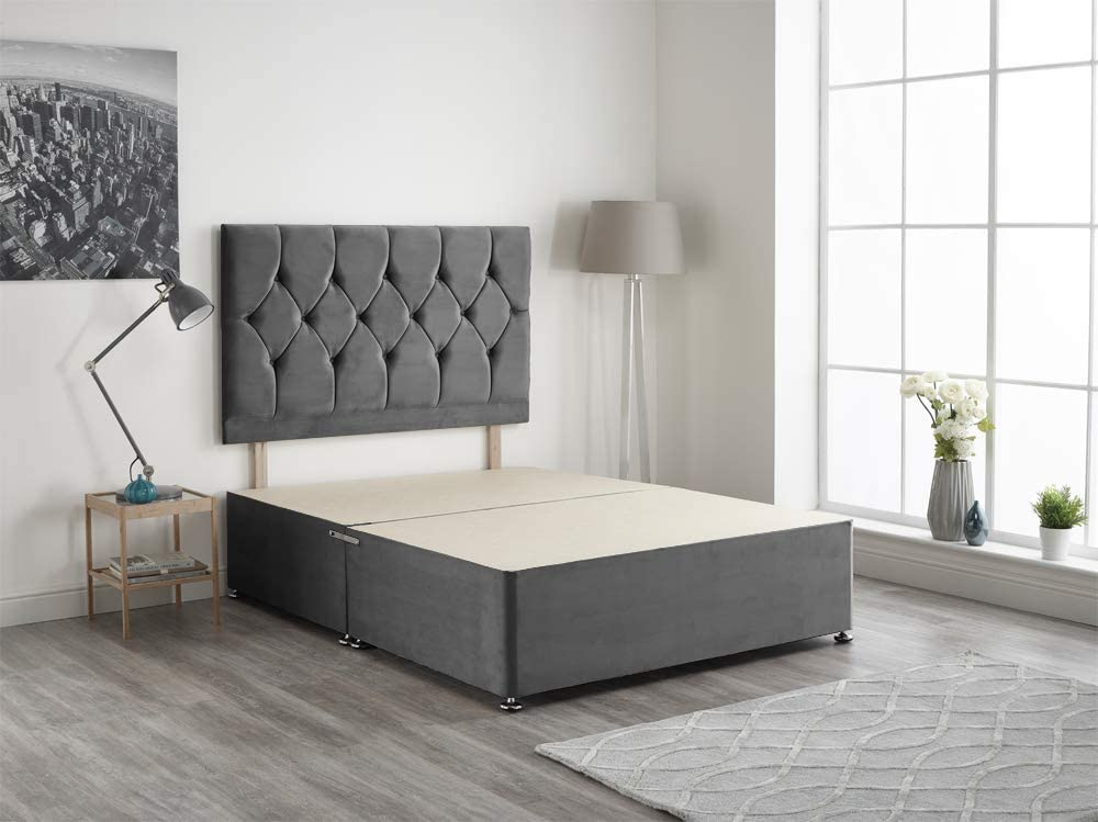 Bed Centre Charcoal Plush Fabric Divan Base Plus Matching Headboard3ft 4ft 4ft6 5ft 6ft (4FT6 (Double))