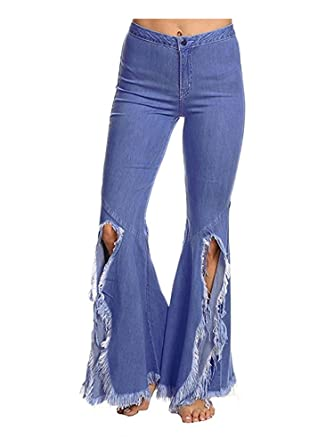 560d5bcd4 Gooket Women's Asymmetric Tassel Flared Slit Ripped Jeans Denim Pants Blue S