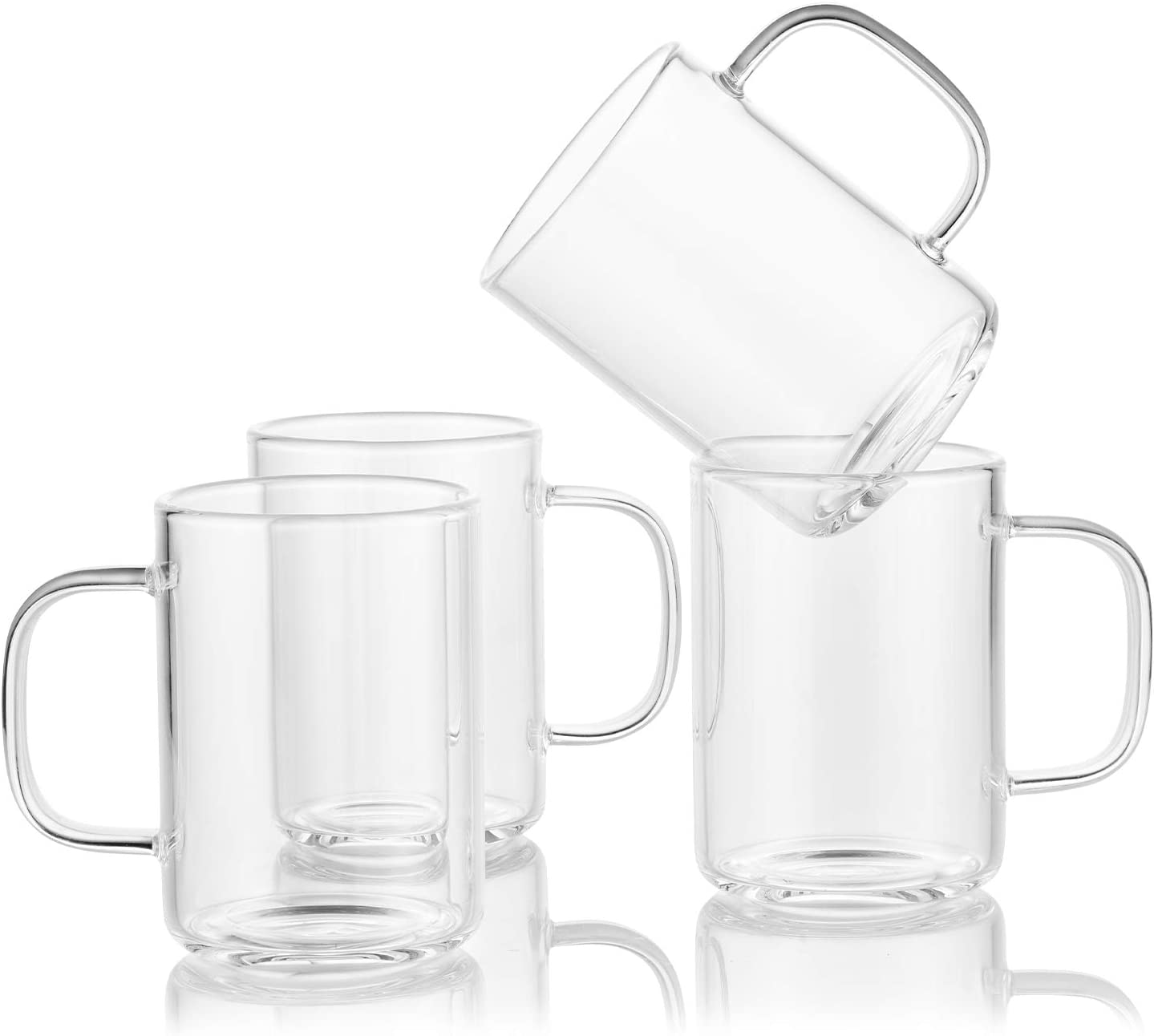 Enindel 3025.02 Simple Style Glass Latte Mug, Coffee Cup, Clear, 9 OZ, Set of 4