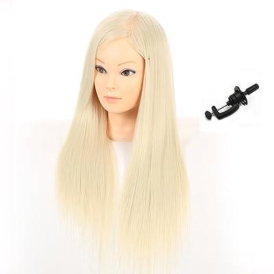 27inch 100% Fibra sintética pelo peluquería peluquería formación cabeza muñecos maniquí de cabeza con abrazadera soporte