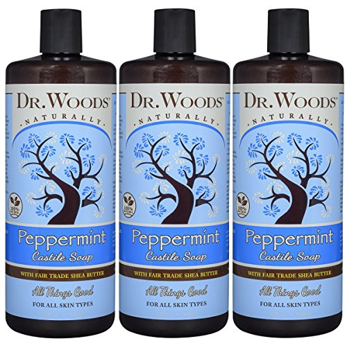 Dr. Woods Pure Peppermint Liquid Castile Soap with Organic Shea Butter, 32 Ounce (Pack of (Pure Shea Butter Liquid)