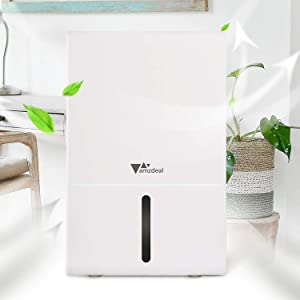 amzdeal Dehumidifier Small Dehumidifier for Basement up to 377 Sq Ft, Digital Display, 3 Pint (51 oz) Capacity, Remove 1 Pint (17 oz) of Water per Day, Perfect for Home, Bathroom, Closet, Bedroom