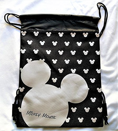 (Disney Mickey Mouse Drawstring Backpack Sling Tote School Sport Gym Bag (Silver))