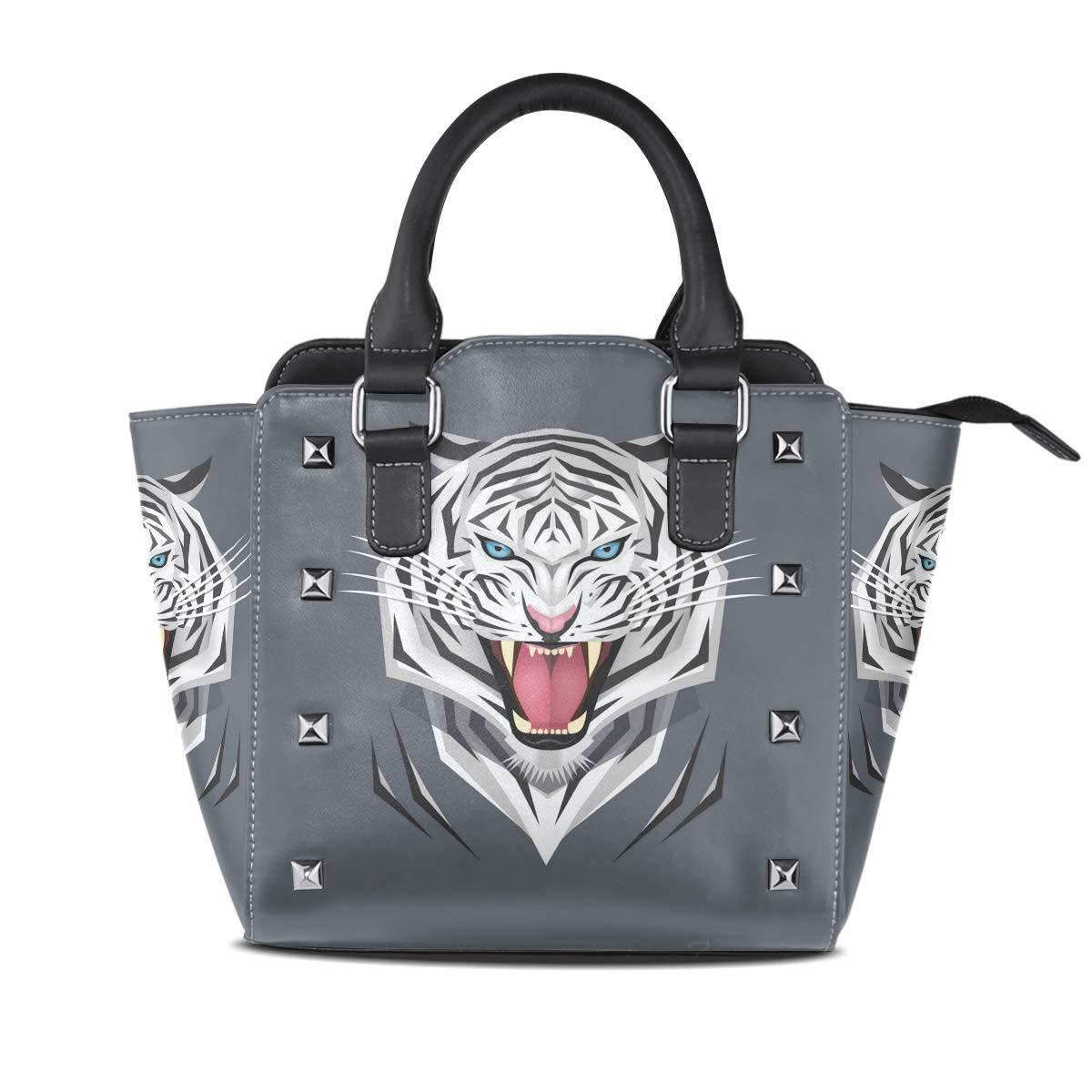 Design4 Cat Top Handle Satchel Handbags Leather Tote Adjustable Shoulder Rivet Bag for Women