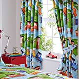 TRAINS 66' x 72' PENCIL PLEAT LINED CURTAINS RAILWAY CROSSING BLUE RED GREEN KIDS DESIGN