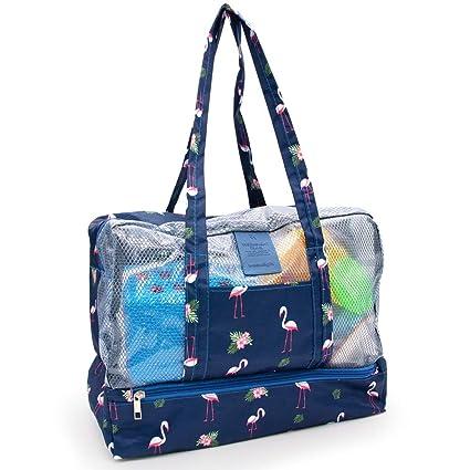 Aperil Bolsa de playa para mujer con cremallera Bolsa de playa impermeable para bolsa de viaje, Bolsa de verano para mujeres (Flamingo)