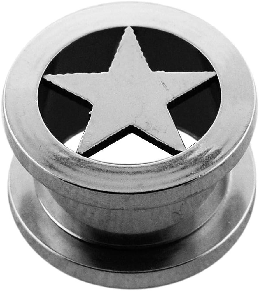 Piercing Flesh Tunnel Earrings Star Black 316L Surgical Steel