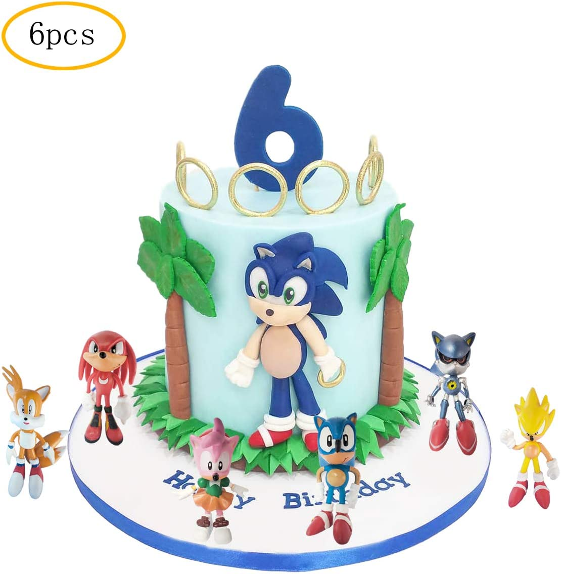 Amazon Com 6 Pcs Sonic The Hedgehog Cake Topper Sonic The