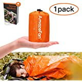 AmazeFan Emergency Sleeping Bag, Survival Sleeping Bag PE Aluminum Film, Lightweight Waterproof Thermal Bivvy Bag Emergency Blanket Bushcraft for Outdoor Camping and Hiking