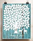 Wedding Tree Guest book Alternative thumbprint Deer Couple Rustic Wood look Paper Print