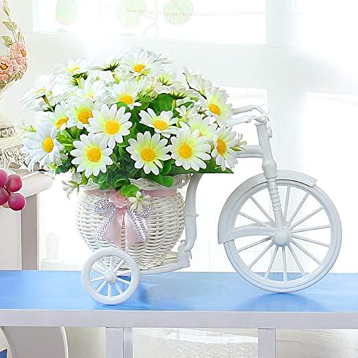 Amazon Co Jp Artificial Flowers Decorative Plants Silk Flowers Cute Basket Bicycle Type Interior Decoration Flower Arrangement Entryway Won T Wither Gift Gift Birthday 6th Anniversary Celebration Home Kitchen