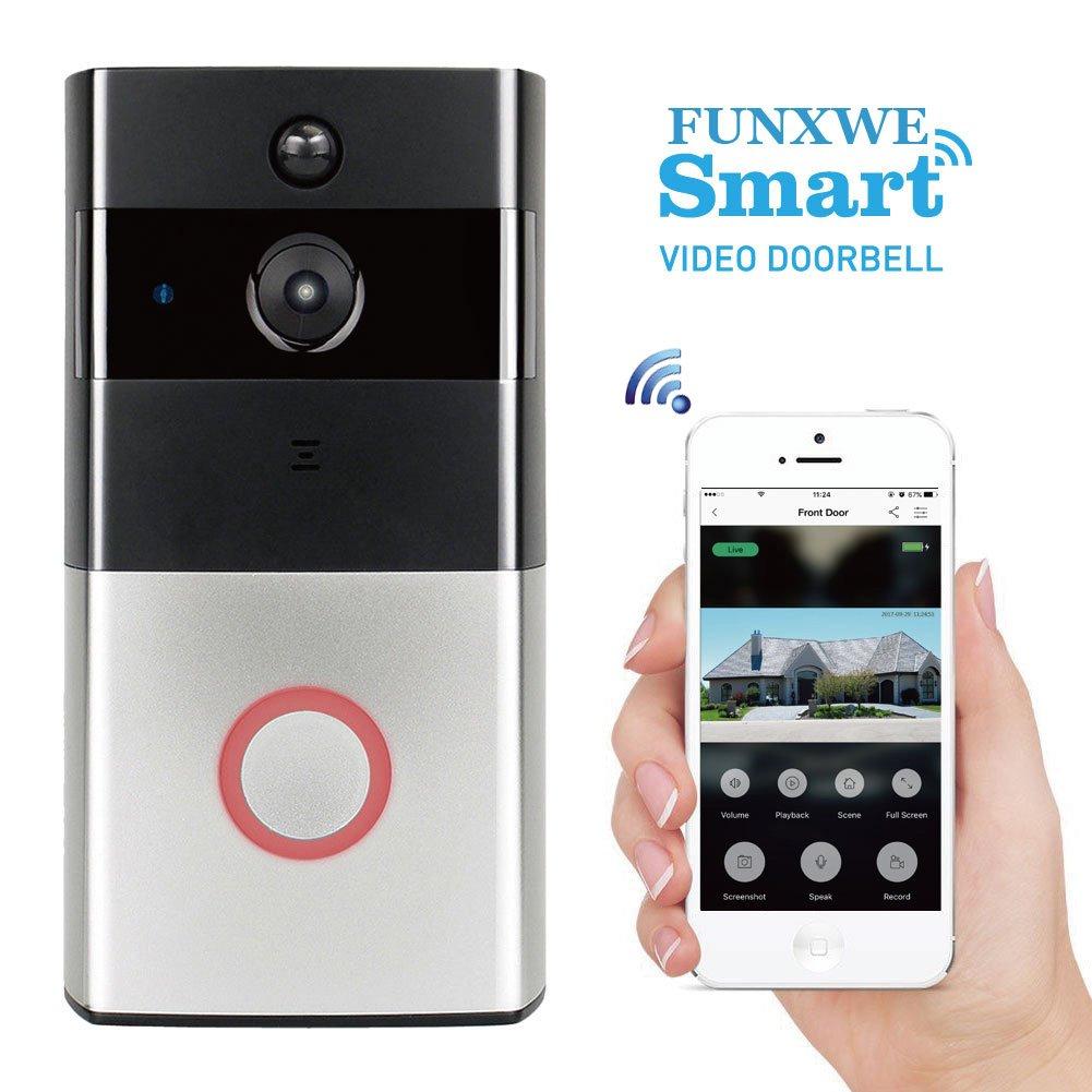 Funxwe WiFi Video Call Doorbell 720P HD Camera Built-in Battery 8G TF SD Card, Two-way Audio Talk Wireless Security Surveillance PIR Motion Detection Push Alert
