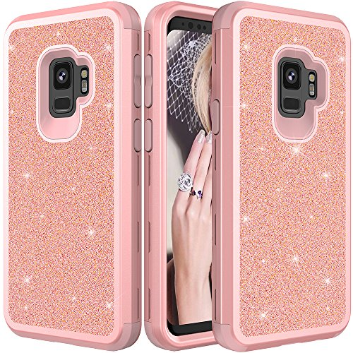 Galaxy S9 Plus Protective Case,Auker Heavy Duty Dual Layer Bling Glitter Shockproof [Hard PC+Soft Silicon] Military Grade Full Body Drop Protection Sparkly Case for Women Samsung S9 Plus -